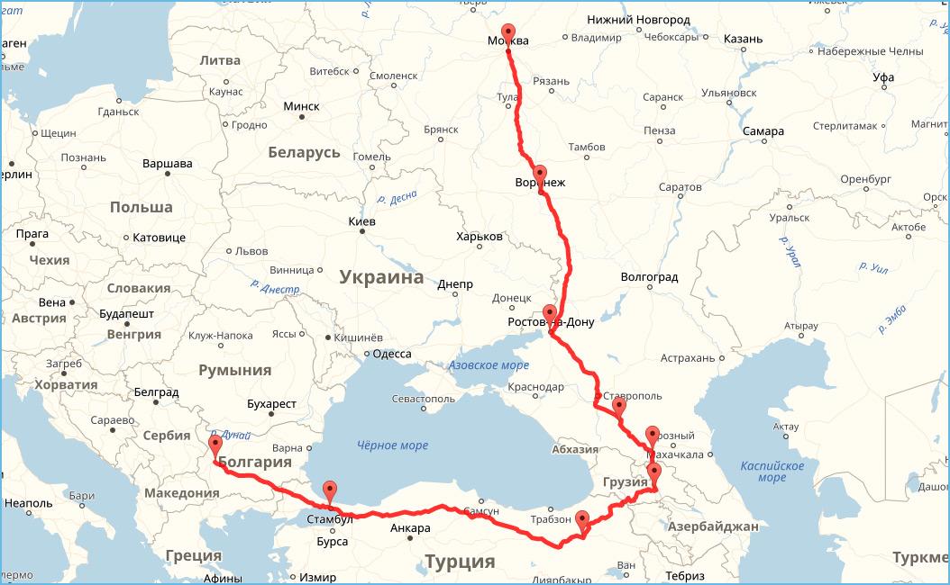 Добраться в Болгарию на автомобиле. Маршрут 1