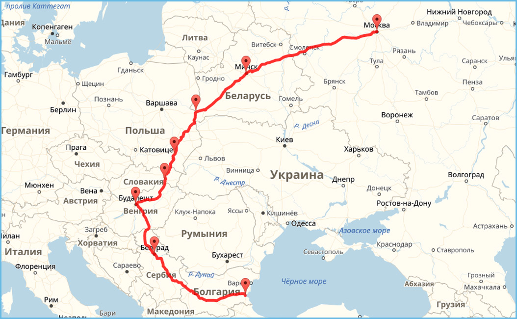 Добраться до Болгарии на автомобиле. Маршрут 2
